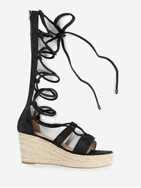 outfit ZAFUL Lace Up Suede Espadrille Sandals - BLACK 36 Mobile