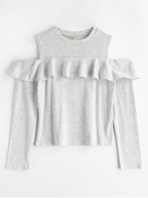 online Cold Shoulder Ruffle T-shirt - LIGHT GRAY L Mobile