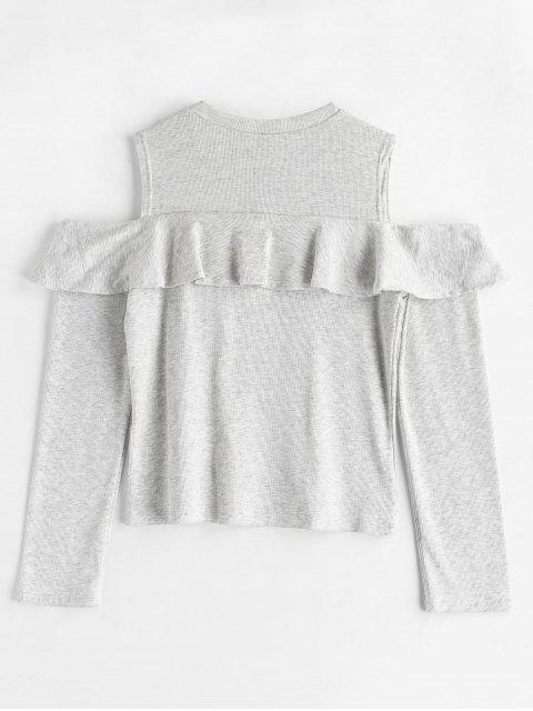 online Cold Shoulder Ruffle T-shirt - LIGHT GRAY L Mobile