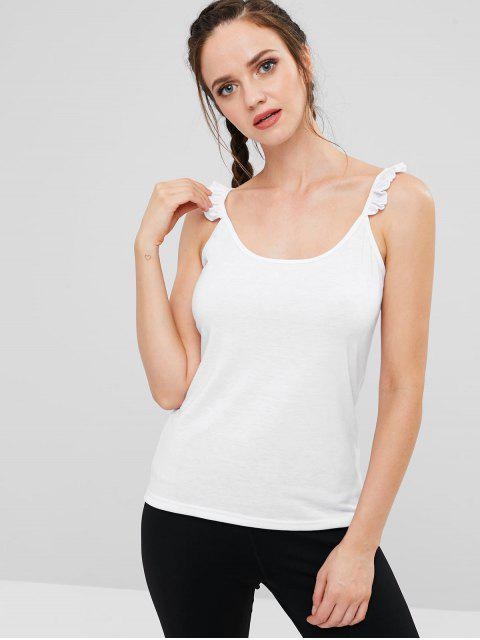 hot ZAFUL Sports Frilled Cami Tank Top - WHITE M Mobile