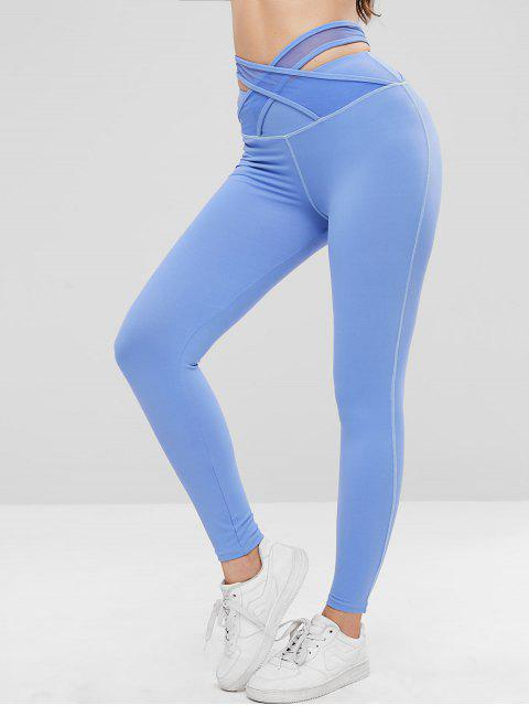 Leggings deportivos ZAFUL Criss Cross de talle alto - Azul M Mobile