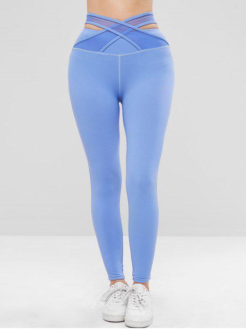 Leggings deportivos ZAFUL Criss Cross de talle alto - Azul L Mobile
