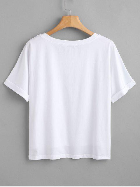 sale ZAFUL Text Graphic Crewneck Tee - WHITE S Mobile