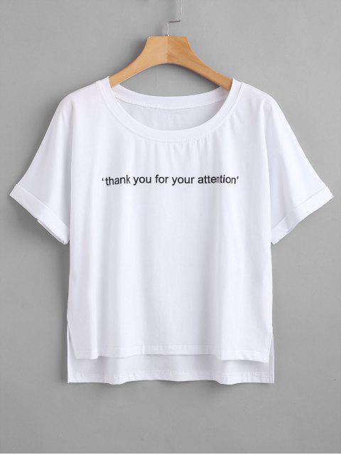 ZAFUL T-shirt Texte Graphique à Col Rond - Blanc M Mobile