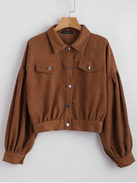 outfits ZAFUL Button Up Corduroy Balloon Sleeve Shirt - BROWN L Mobile