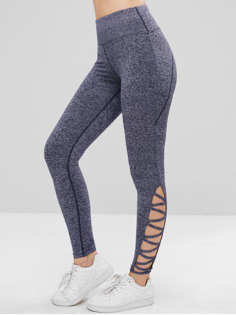 ZAFUL Heather Lattice Sport Leggings - Stahlblau S Mobile