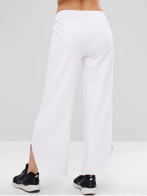 lady ZAFUL Raw Hem Wide Leg Sports Sweatpants - WHITE M Mobile