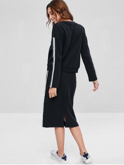 ZAFUL Contrast Side Sweatshirt und Bleistiftrock-Set - Schwarz M Mobile