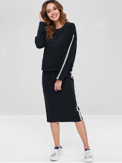 hot ZAFUL Contrast Side Sweatshirt and Pencil Skirt Set - BLACK L Mobile