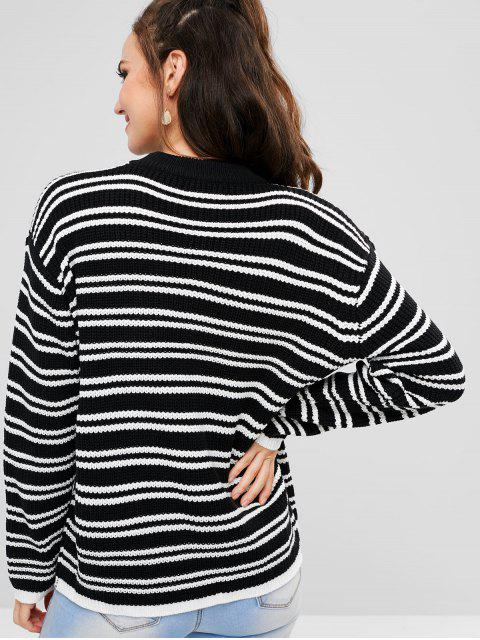 women's Drop Shoulder Striped Sweater - BLACK ONE SIZE Mobile