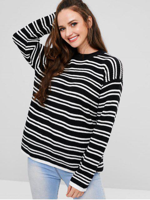 Gestreifter Pullover mit Hängender Schulter - Schwarz Eine Größe Mobile