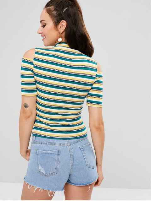 womens ZAFUL Cut Out Shoulder Striped Ribbed Mock Neck Tee - MULTI L Mobile