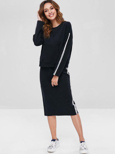 ZAFUL Contraste Side Sweatshirt e Lápis Saia Set - Preto XL Mobile