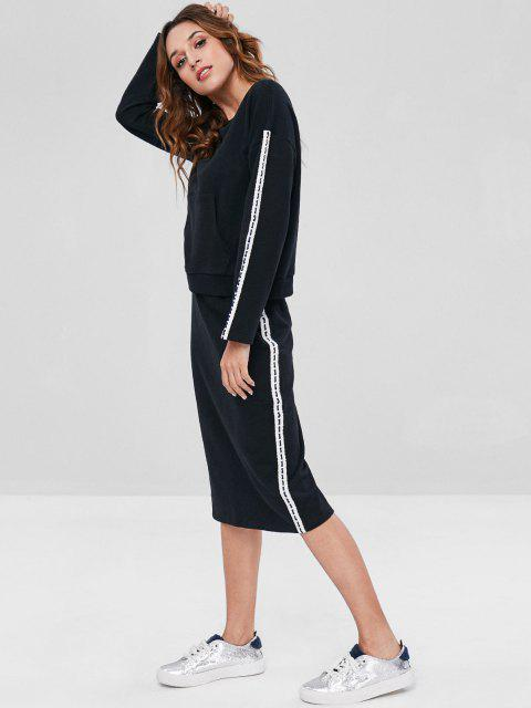 outfit ZAFUL Contrast Side Sweatshirt and Pencil Skirt Set - BLACK XL Mobile