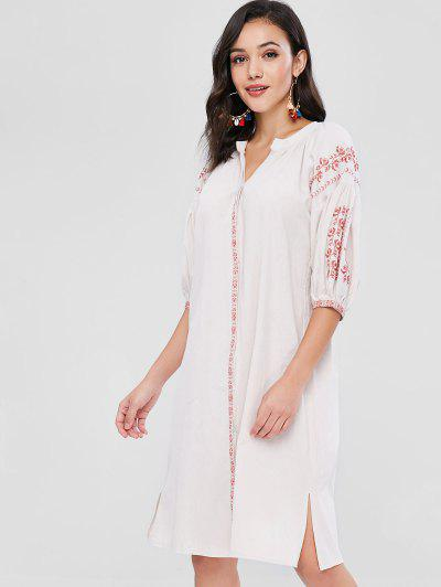 Embroidered Button Up Slit Dress - Blanched Almond d641e27aa