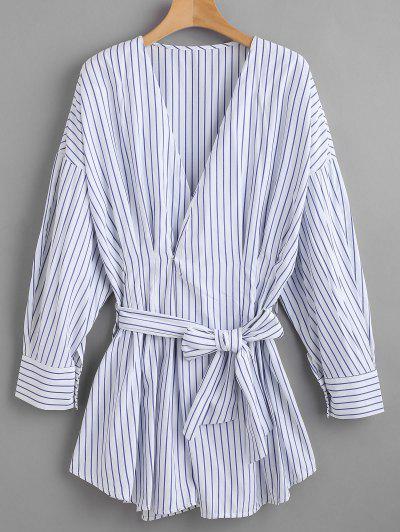 Belted Striped Long Shirt - Blue L