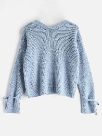 91aca65f34 ... V Neck Tied Sleeve Boxy Sweater - Light Blue
