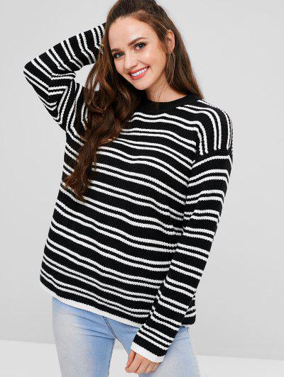 Drop Shoulder Striped Sweater - Black