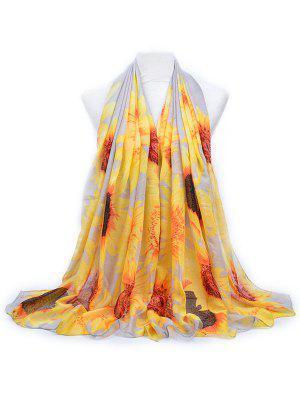Eleganter Sun Flower Printed Langer Schal
