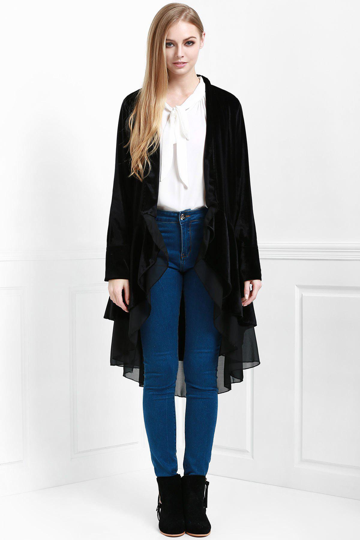 Swingy Velvet Long Sleeve Coat, Black