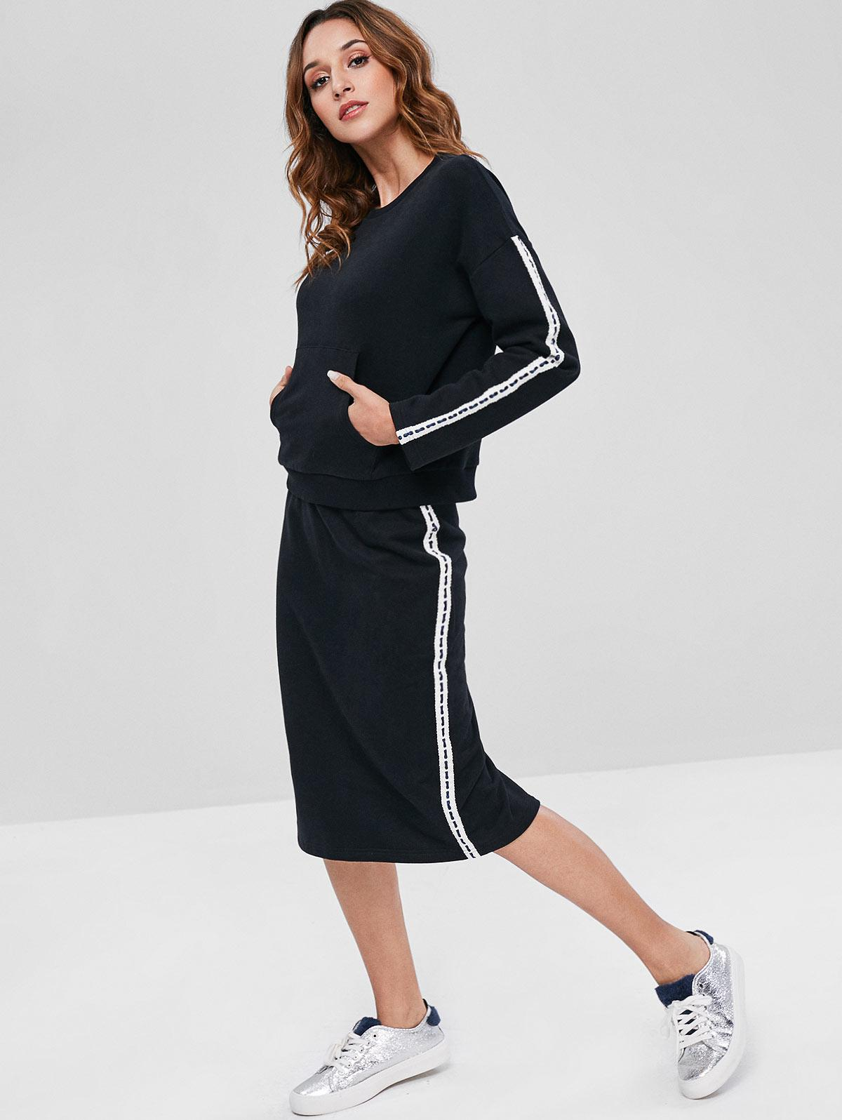 ZAFUL Contrast Side Sweatshirt and Pencil Skirt Set