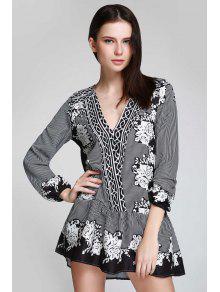 فستان مخطط طباعة الأزهار توهج الرقبة V - أسود S