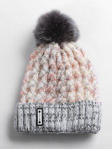 ضبابي الكرة التشفيه محبوك قبعة صغيرة - أوزة رمادية