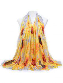 أنيقة زهرة الشمس مطبوعة وشاح طويل - رمادي فاتح