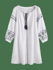 Vestido M Blanco Bordado Mini Borlas 7AwOqpg