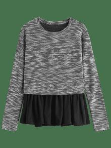 Tweed Manga Larga L Fish Camiseta Negro Peplum Scale De ZpxYBY