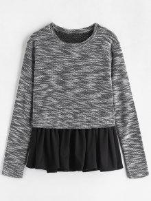 Manga Peplum De Negro Tweed Fish Scale L Camiseta Larga 65qxzAwwC