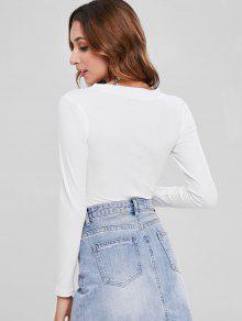 8cee955e9825 32% OFF] 2019 Ribbed Button Bodysuit In WHITE | ZAFUL United Kingdom