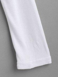 Acanalada Larga V S Cuello De En Con Camiseta Manga Blanco fwqFOPB