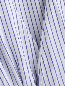 M Con Larga Cintur Camisa Azul 243;n Rayas A xwAqxnUOB