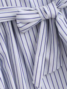 Larga Rayas A M Azul 243;n Con Camisa Cintur AfqnxdHH