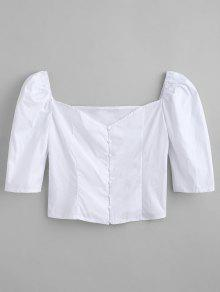 Up Sweetheart Top L Blanco Button rUUw6qx5