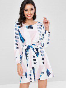 فستان بحزام مطبع - أبيض Xl