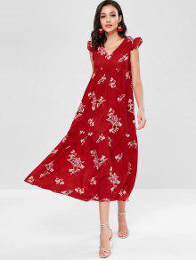فستان بياقة V مزين بالزهور - Fire Fire Red M