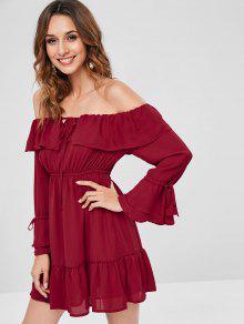قبالة الكتف الشيفون البسيطة اللباس - نبيذ احمر M