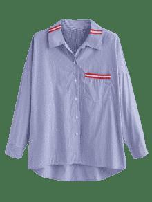 Ancha Rayas Multicolor S De Camisa A Bolsillo Extra fwqwO78