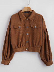 ZAFUL Shirt Marr 243;n Corduroy Sleeve Balloon M Button Up wwOxqBz6gA