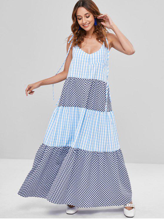 women A Line Plaid Long Tie Shoulder Dress - MULTI M