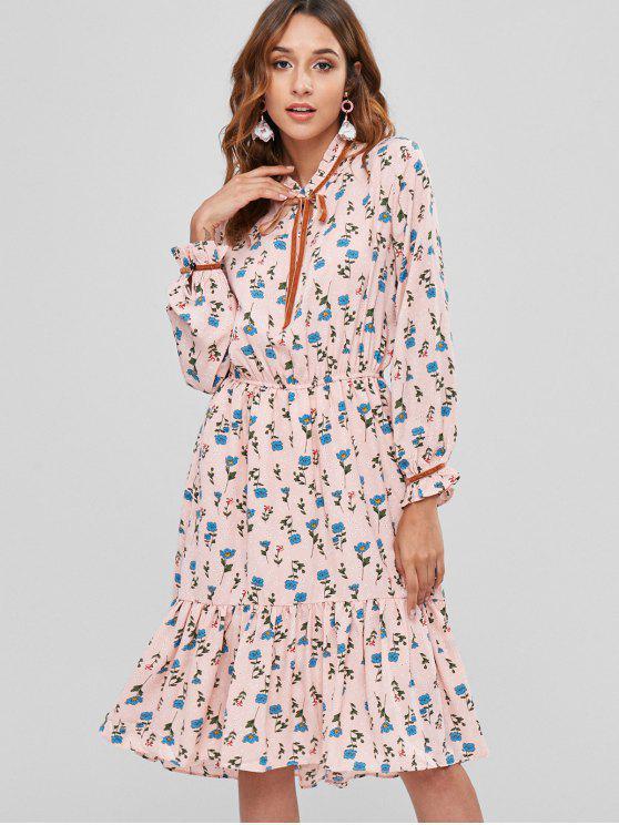 Robe Florale Plissée à Manches Longues - Rose Léger  S