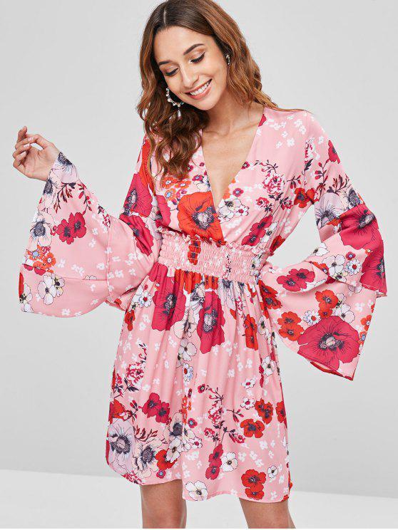 Geraffte Blumen Bell Ärmel Kleid - Multi L