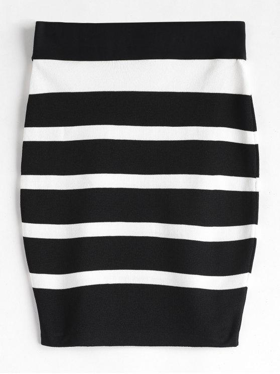 new Striped Knit Bodycon Skirt - BLACK ONE SIZE