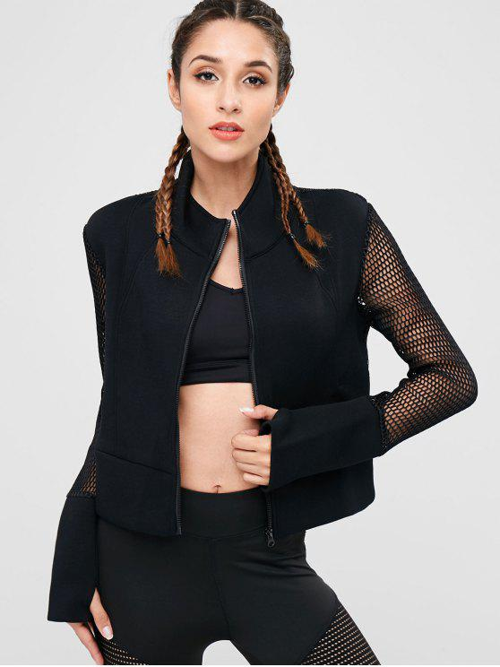 trendy Fishnet Zipper Crop Jacket - BLACK M