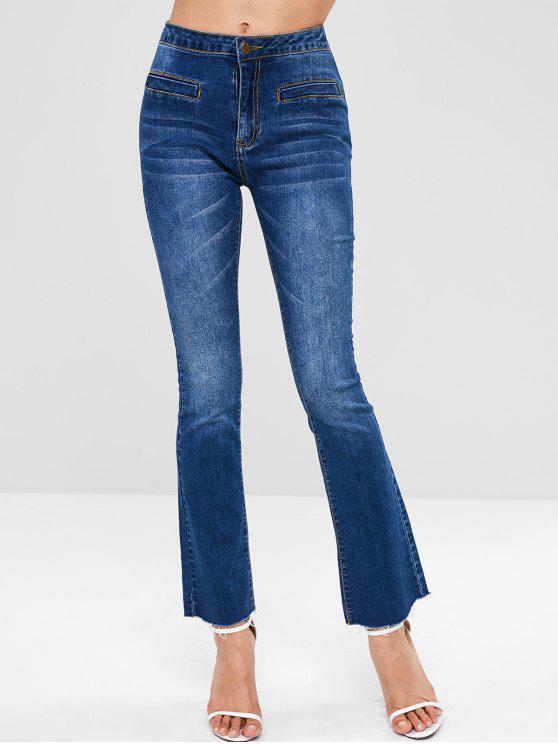 womens ZAFUL Lace-up Bootcut Raw Hem Jeans - DENIM DARK BLUE L