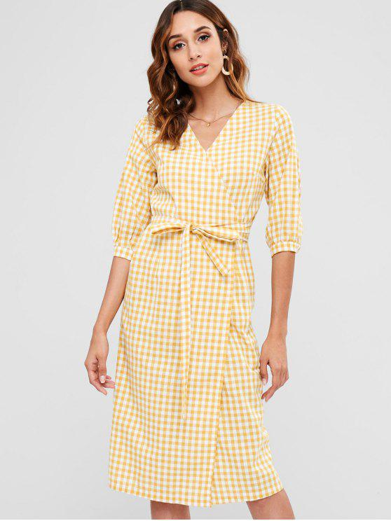 outfit Plaid Mid Calf Wrap Dress - MUSTARD ONE SIZE