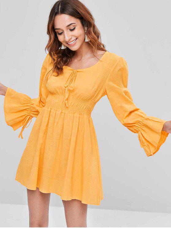buy Smocked Long Sleeve Mini A Line Dress - YELLOW M