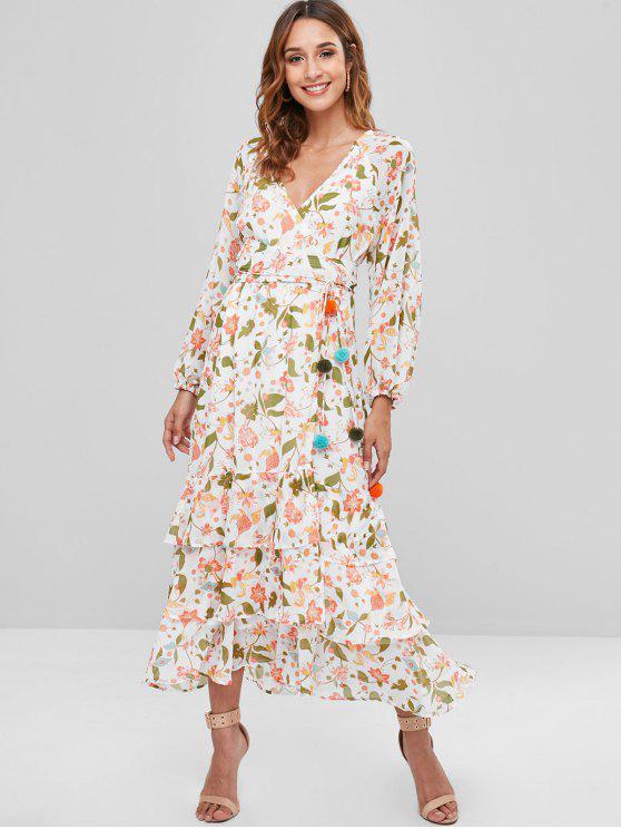 sensación cómoda estilo de moda tan baratas Vestido largo con estampado floral de volantes WHITE